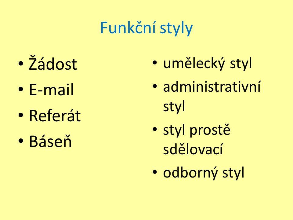 Funkční styly Žádost E-mail Referát Báseň umělecký styl