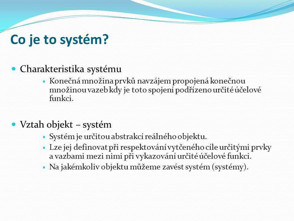 Co je to systém Charakteristika systému Vztah objekt – systém