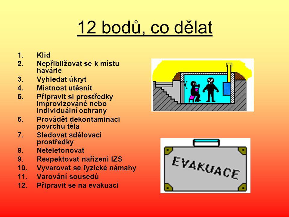 12 bodů, co dělat Klid Nepřibližovat se k místu havárie Vyhledat úkryt