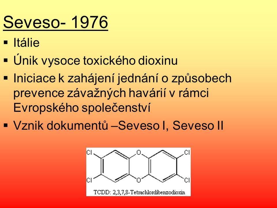 Seveso- 1976 Itálie Únik vysoce toxického dioxinu