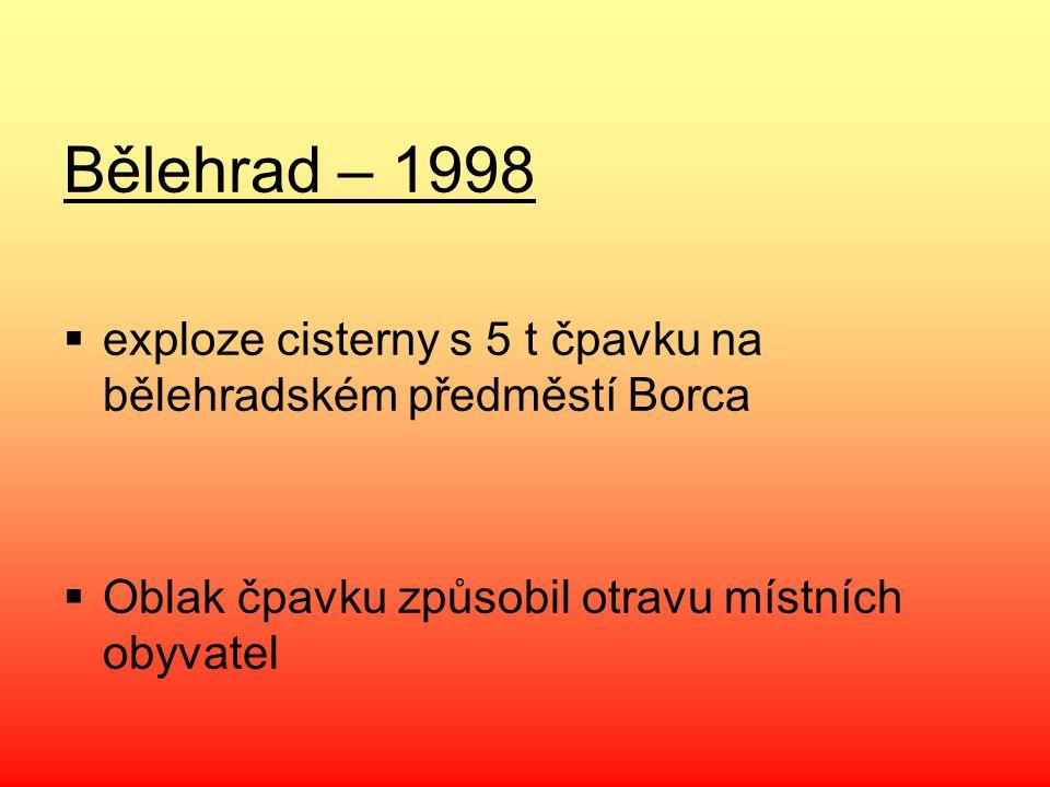 Bělehrad – 1998 exploze cisterny s 5 t čpavku na bělehradském předměstí Borca.