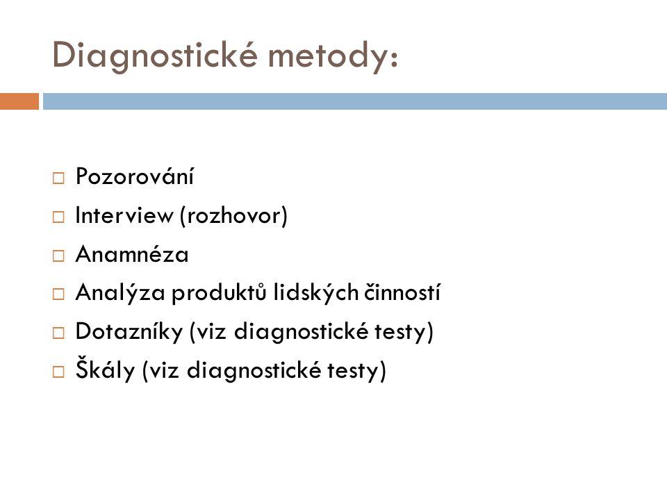 Diagnostické metody: Pozorování Interview (rozhovor) Anamnéza