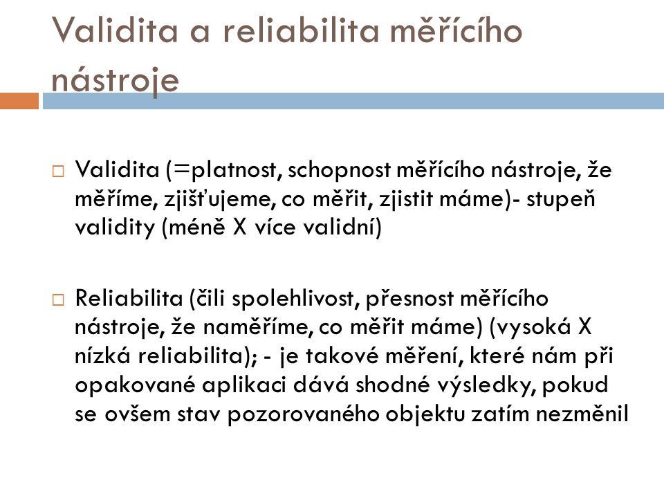 Validita a reliabilita měřícího nástroje