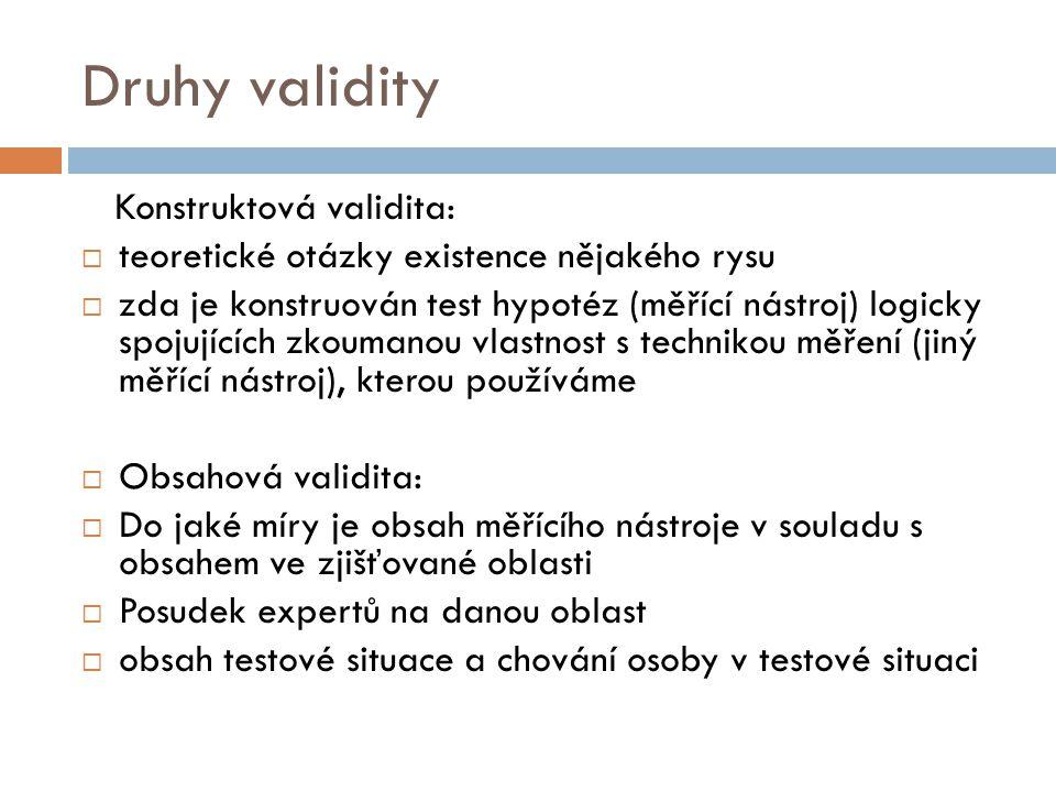 Druhy validity Konstruktová validita: