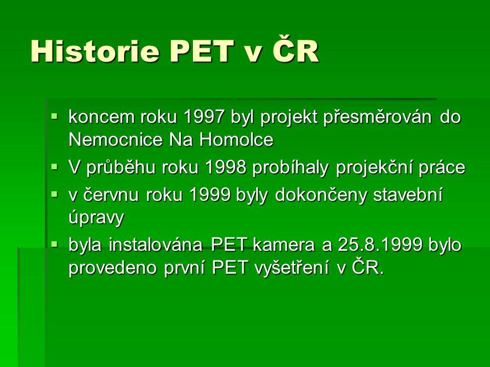 Historie PET v ČR koncem roku 1997 byl projekt přesměrován do Nemocnice Na Homolce. V průběhu roku 1998 probíhaly projekční práce.