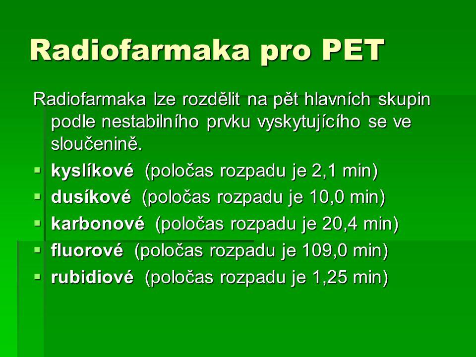 Radiofarmaka pro PET Radiofarmaka lze rozdělit na pět hlavních skupin podle nestabilního prvku vyskytujícího se ve sloučenině.