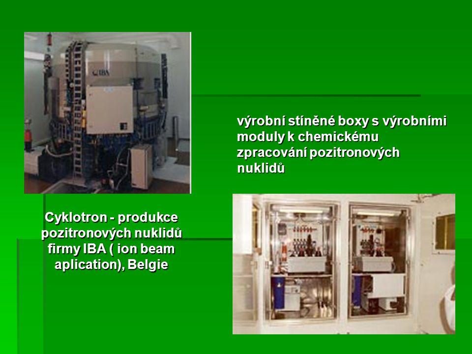 výrobní stíněné boxy s výrobními moduly k chemickému zpracování pozitronových nuklidů