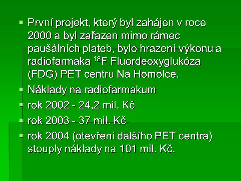 První projekt, který byl zahájen v roce 2000 a byl zařazen mimo rámec paušálních plateb, bylo hrazení výkonu a radiofarmaka 18F Fluordeoxyglukóza (FDG) PET centru Na Homolce.