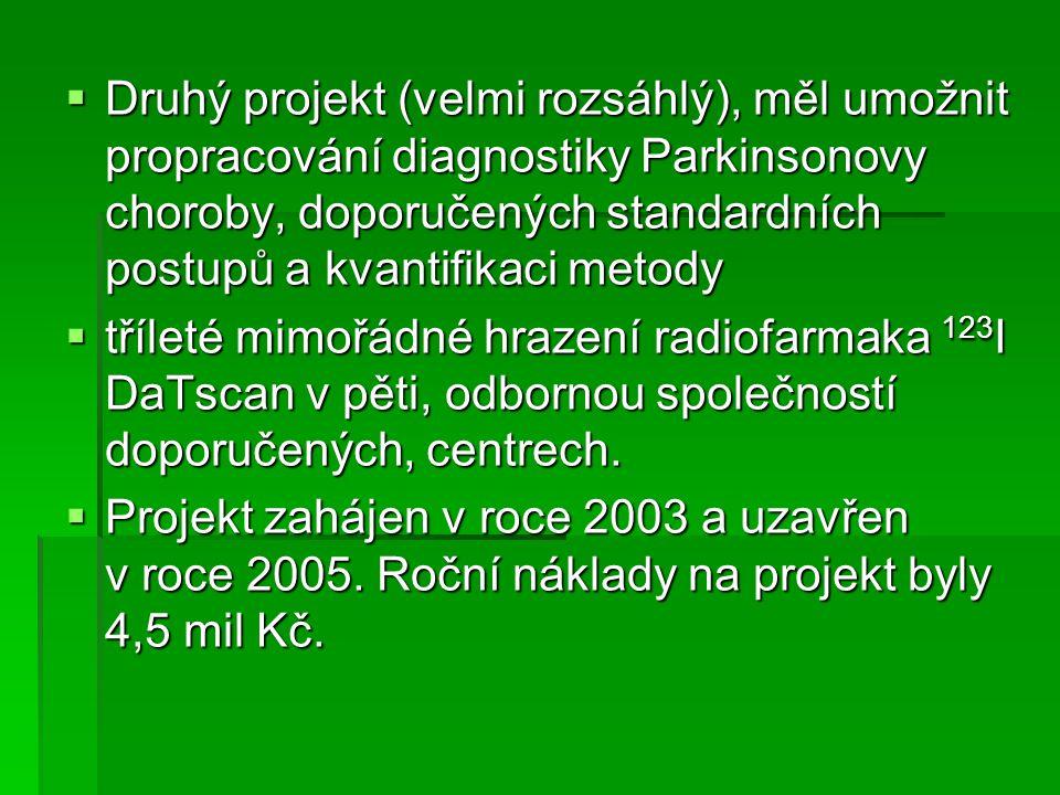 Druhý projekt (velmi rozsáhlý), měl umožnit propracování diagnostiky Parkinsonovy choroby, doporučených standardních postupů a kvantifikaci metody