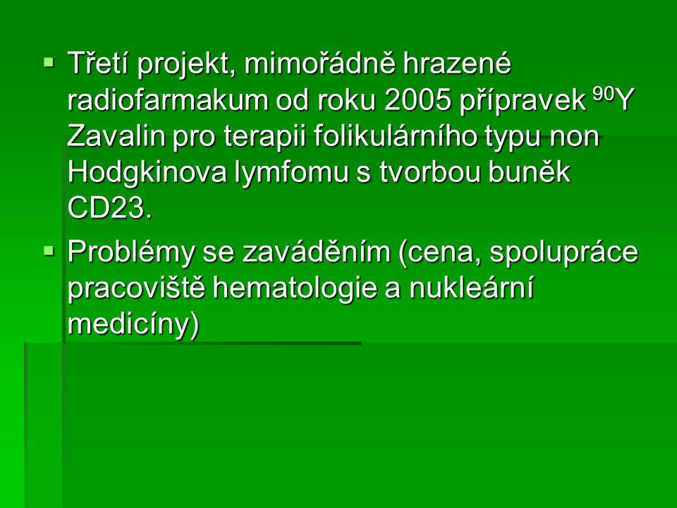Třetí projekt, mimořádně hrazené radiofarmakum od roku 2005 přípravek 90Y Zavalin pro terapii folikulárního typu non Hodgkinova lymfomu s tvorbou buněk CD23.