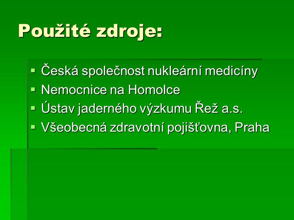 Použité zdroje: Česká společnost nukleární medicíny