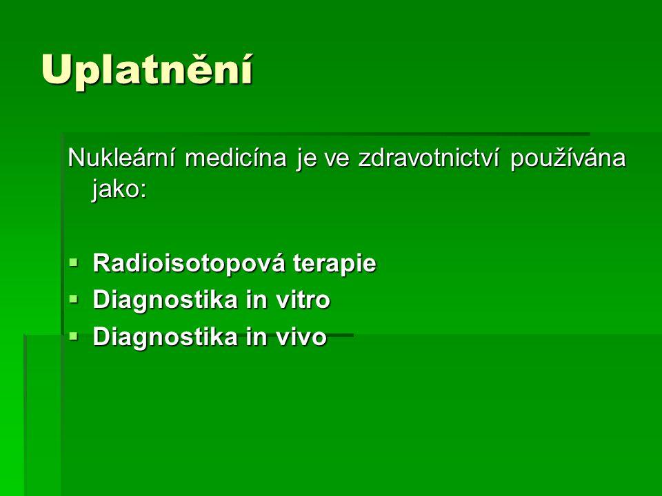 Uplatnění Nukleární medicína je ve zdravotnictví používána jako: