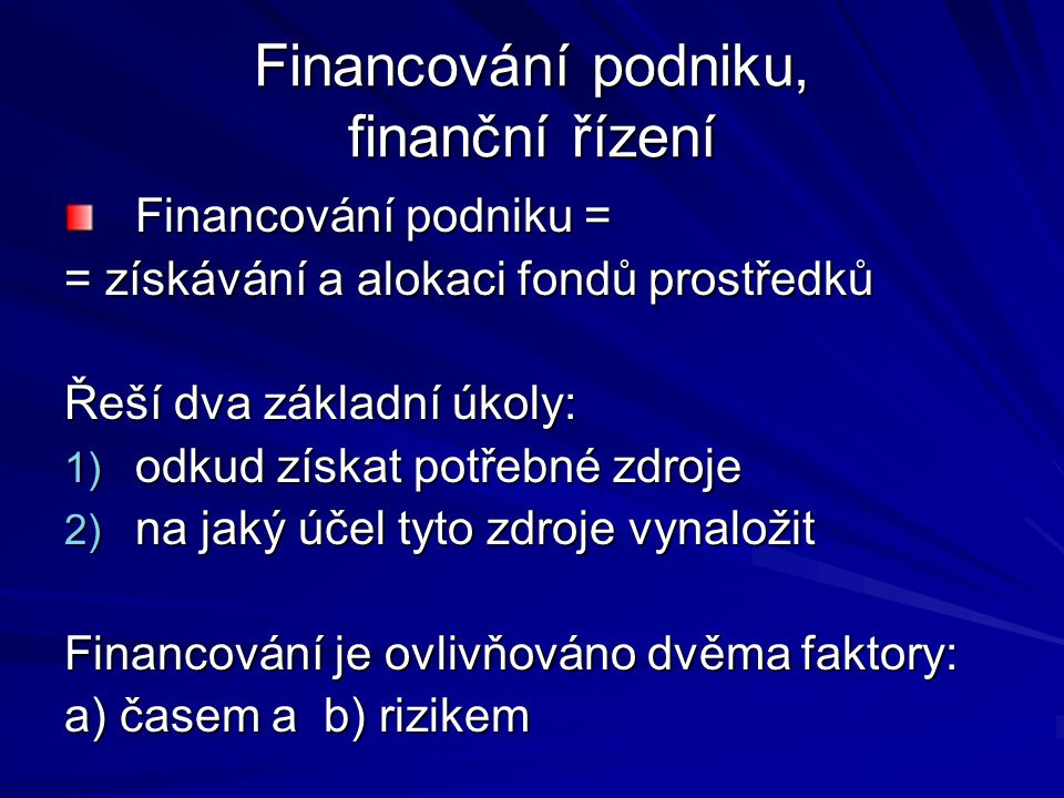 Financování podniku, finanční řízení