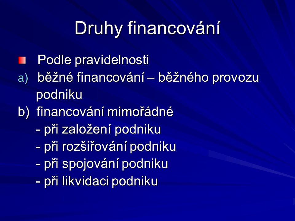 Druhy financování Podle pravidelnosti