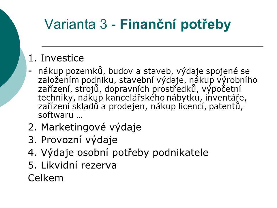 Varianta 3 - Finanční potřeby