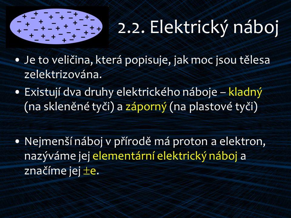 2.2. Elektrický náboj Je to veličina, která popisuje, jak moc jsou tělesa zelektrizována.