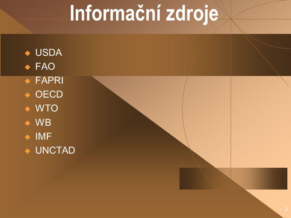 Informační zdroje USDA FAO FAPRI OECD WTO WB IMF UNCTAD