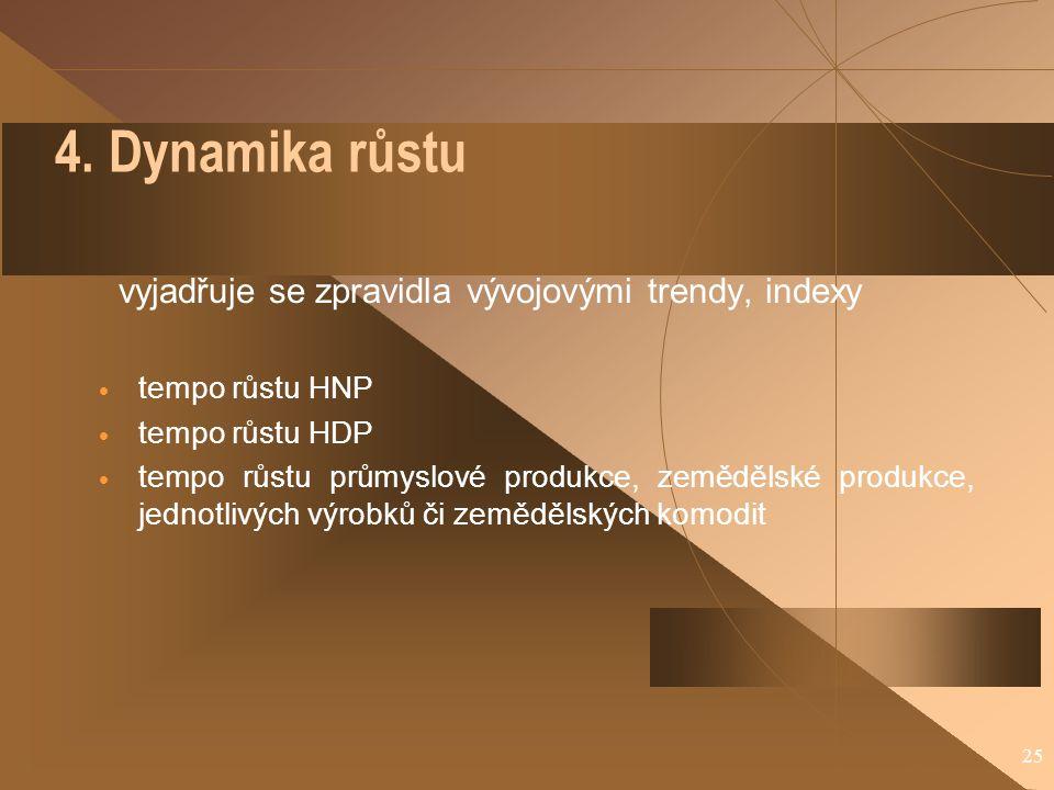 4. Dynamika růstu vyjadřuje se zpravidla vývojovými trendy, indexy