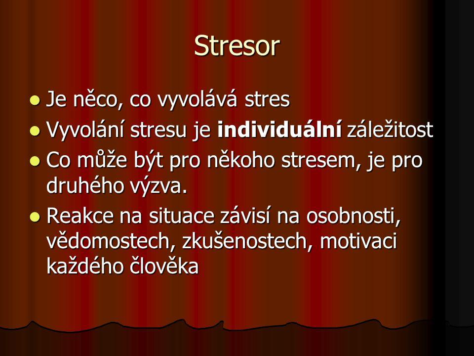 Stresor Je něco, co vyvolává stres