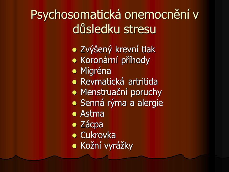 Psychosomatická onemocnění v důsledku stresu