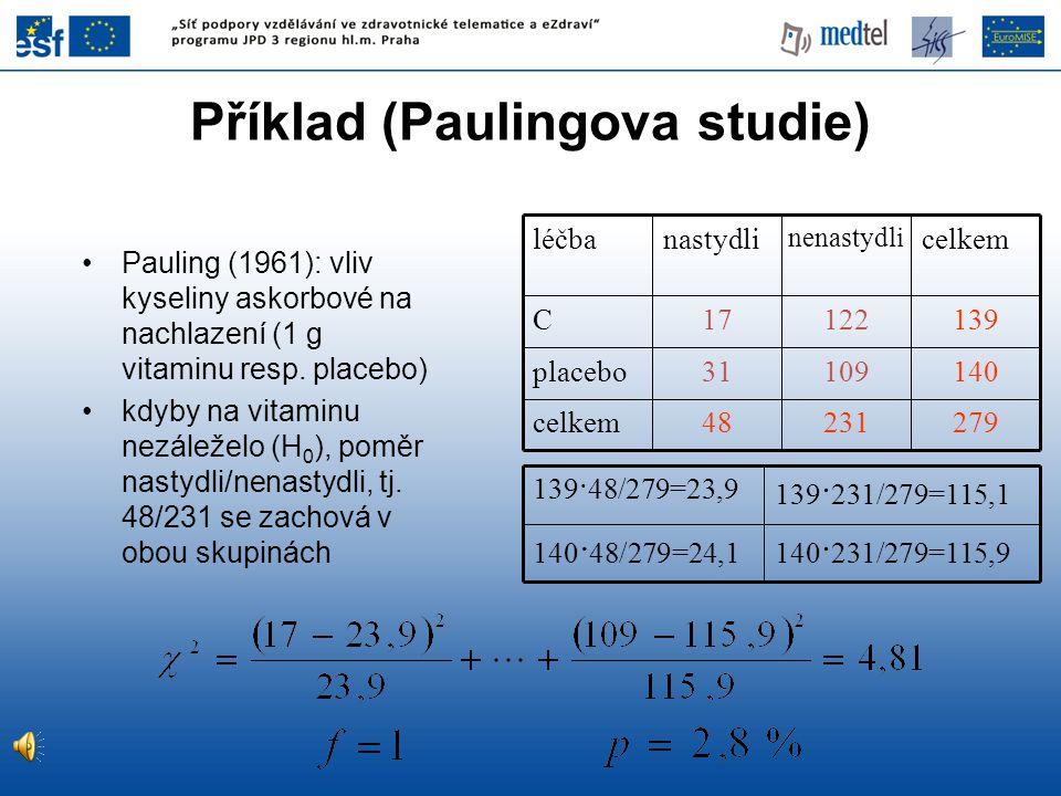 Příklad (Paulingova studie)