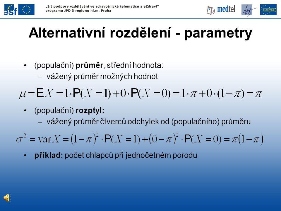 Alternativní rozdělení - parametry