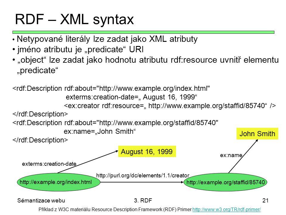 """RDF – XML syntax jméno atributu je """"predicate URI"""