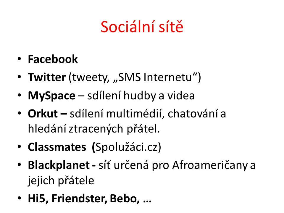 """Sociální sítě Facebook Twitter (tweety, """"SMS Internetu )"""