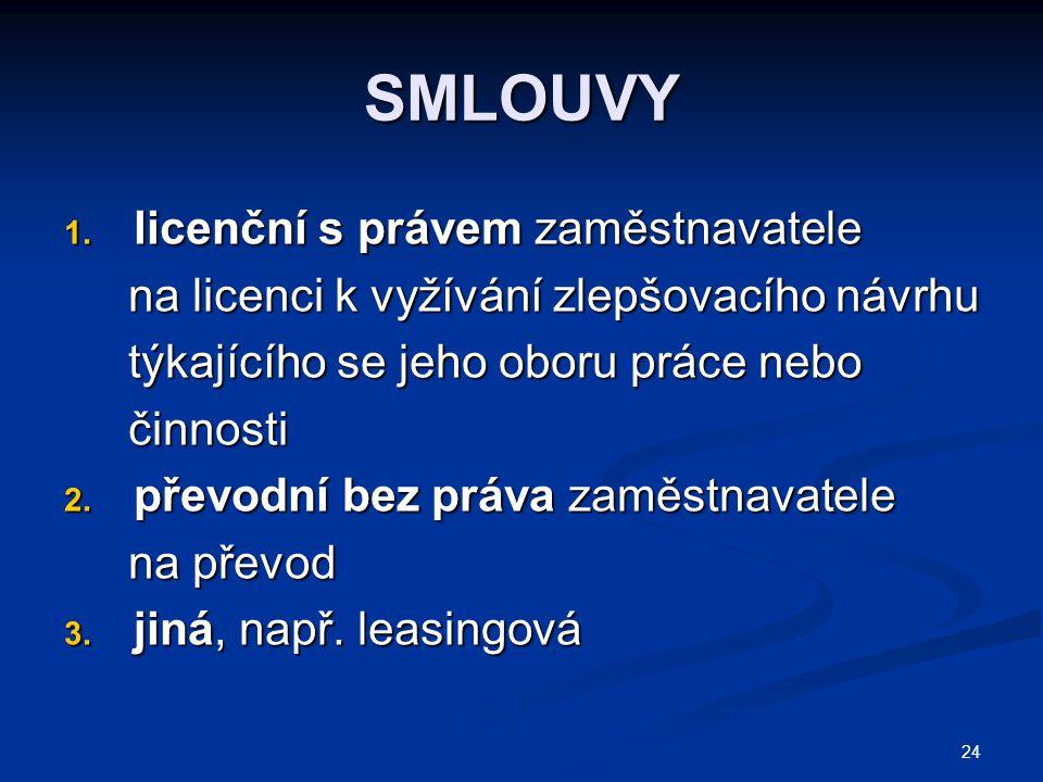 SMLOUVY licenční s právem zaměstnavatele