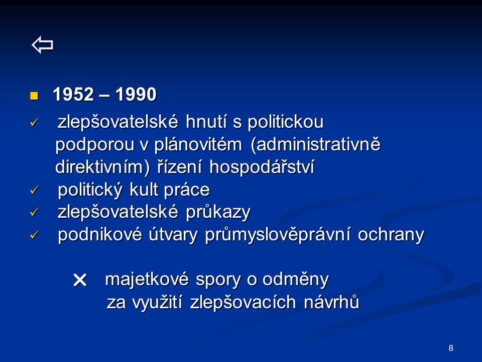  1952 – 1990 zlepšovatelské hnutí s politickou