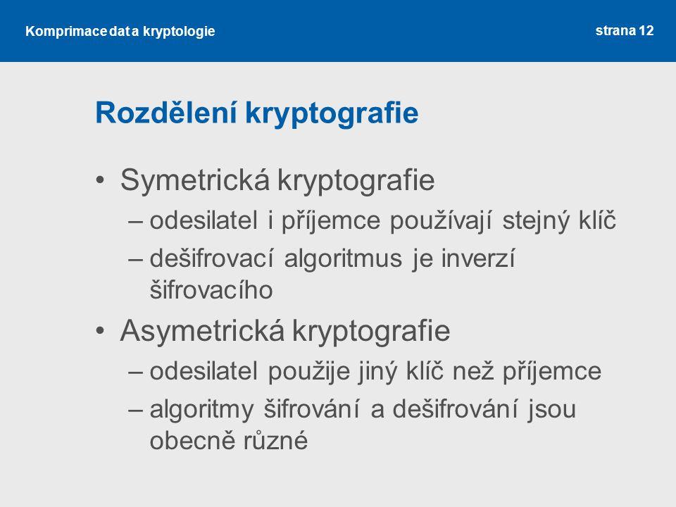 Rozdělení kryptografie
