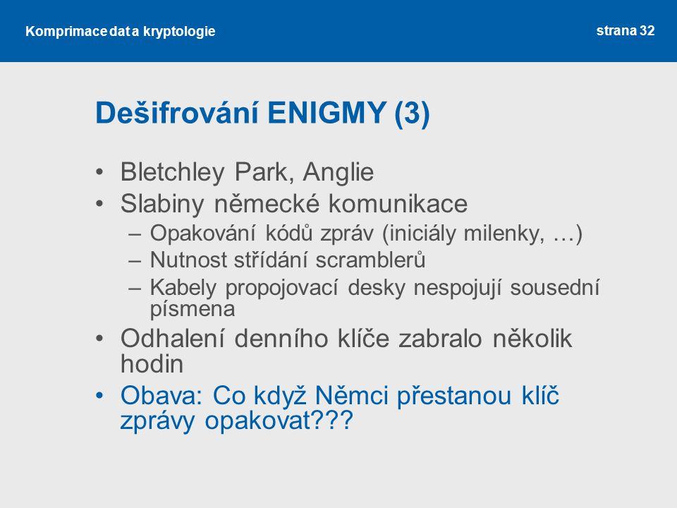 Dešifrování ENIGMY (3) Bletchley Park, Anglie