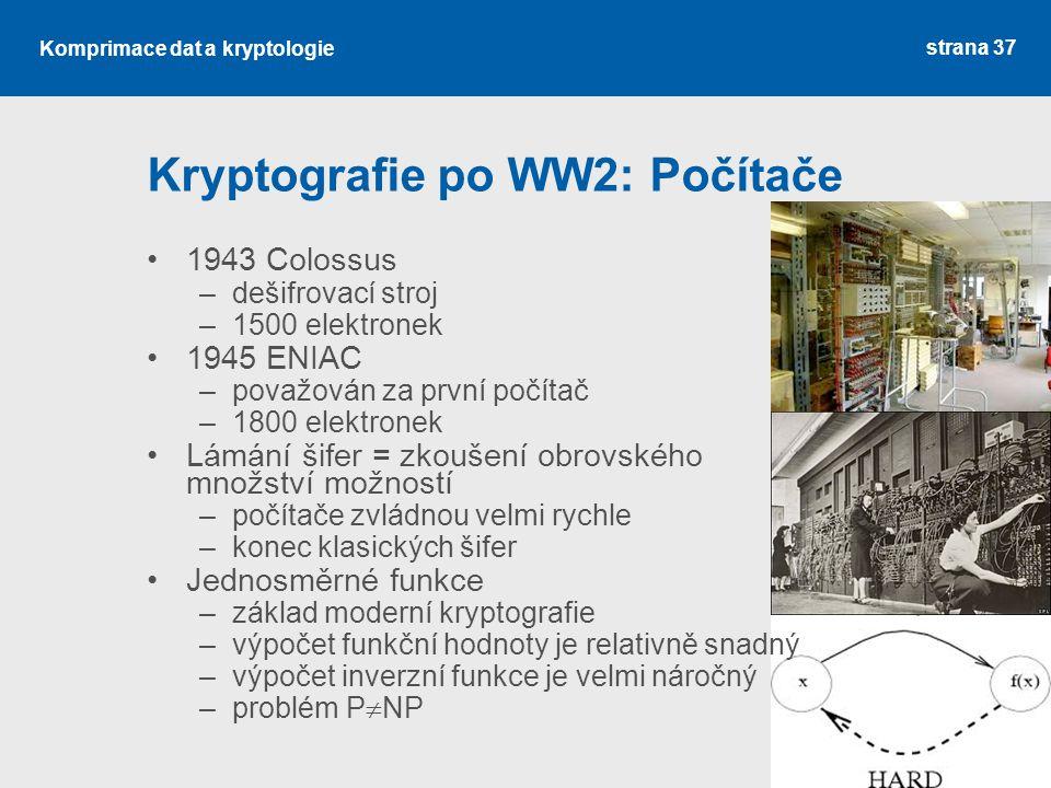 Kryptografie po WW2: Počítače