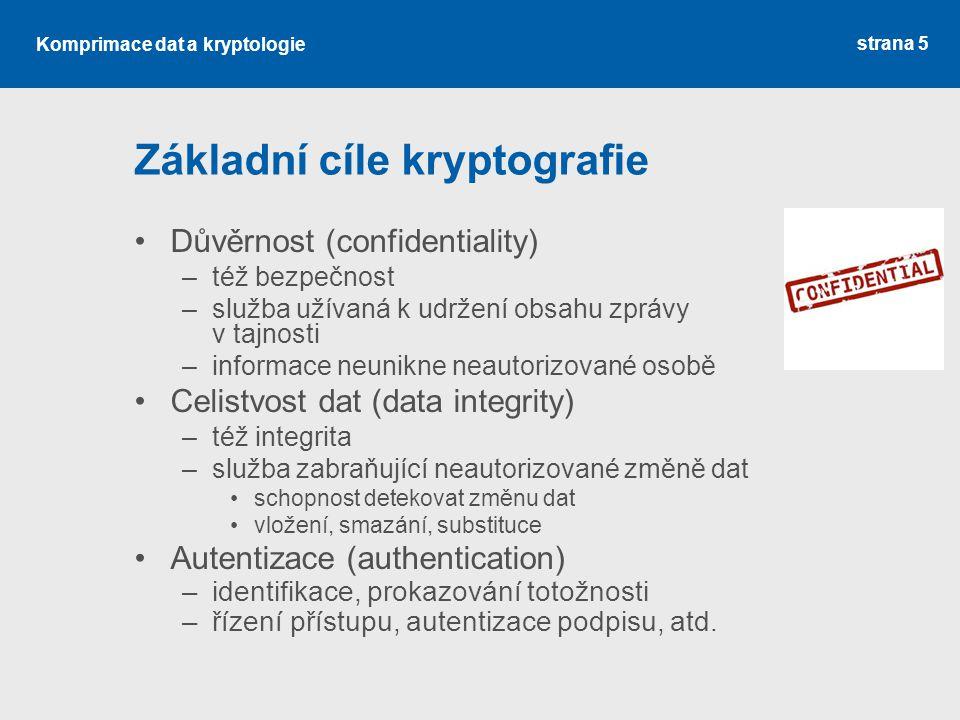 Základní cíle kryptografie