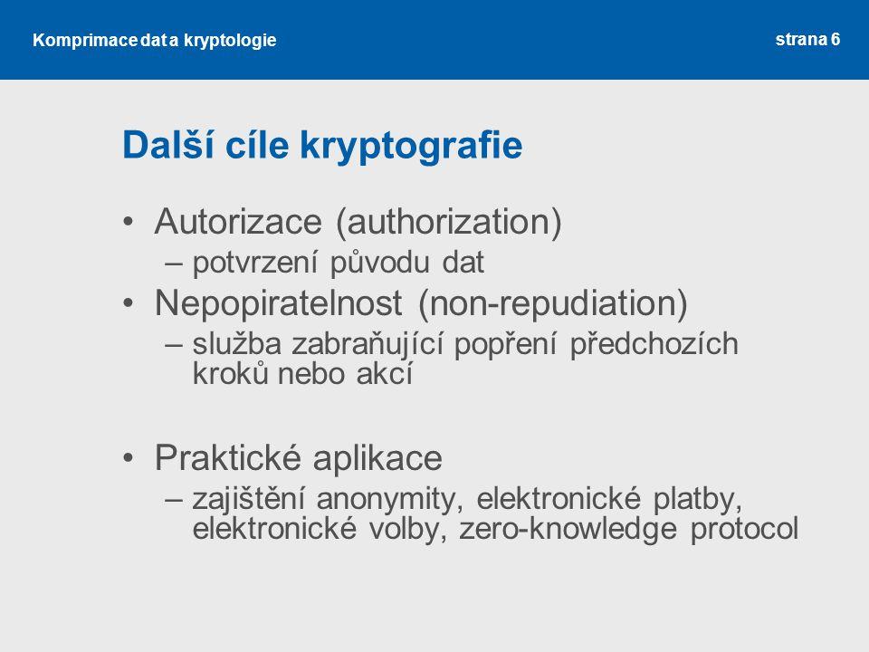 Další cíle kryptografie
