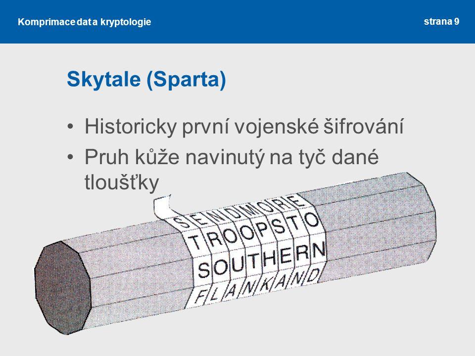 Skytale (Sparta) Historicky první vojenské šifrování Pruh kůže navinutý na tyč dané tloušťky