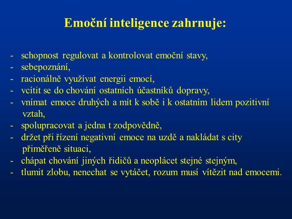 Emoční inteligence zahrnuje: