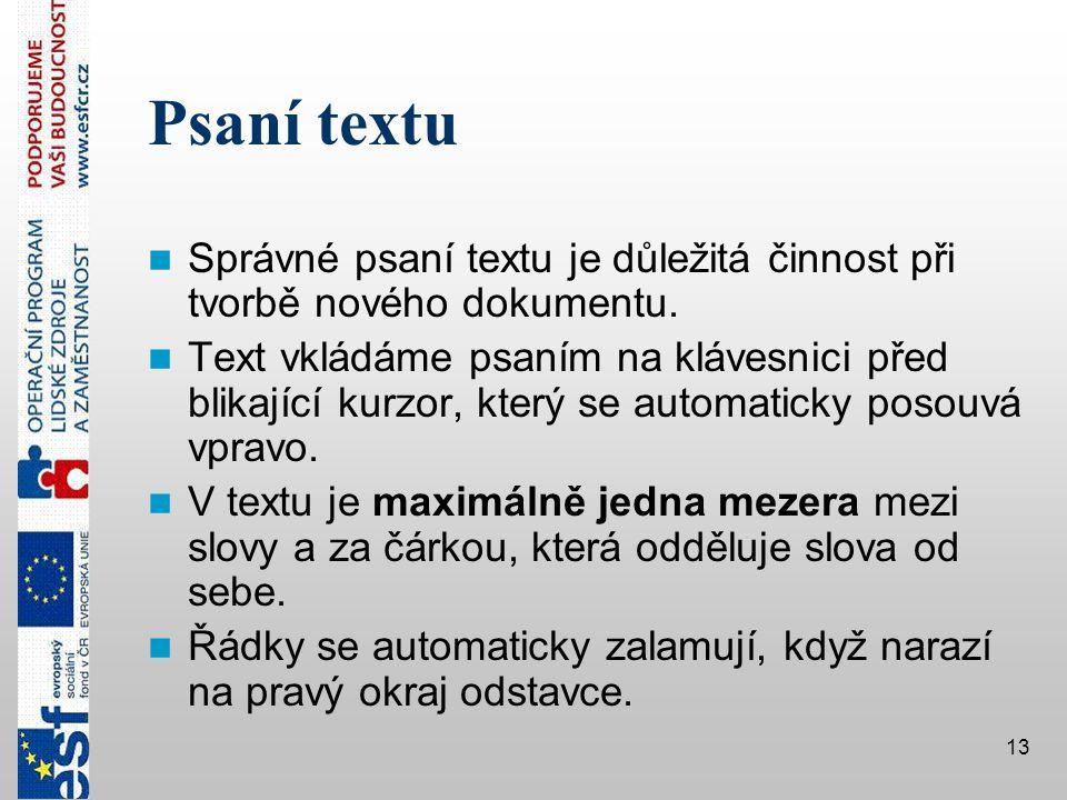 Psaní textu Správné psaní textu je důležitá činnost při tvorbě nového dokumentu.