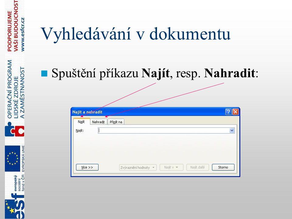 Vyhledávání v dokumentu