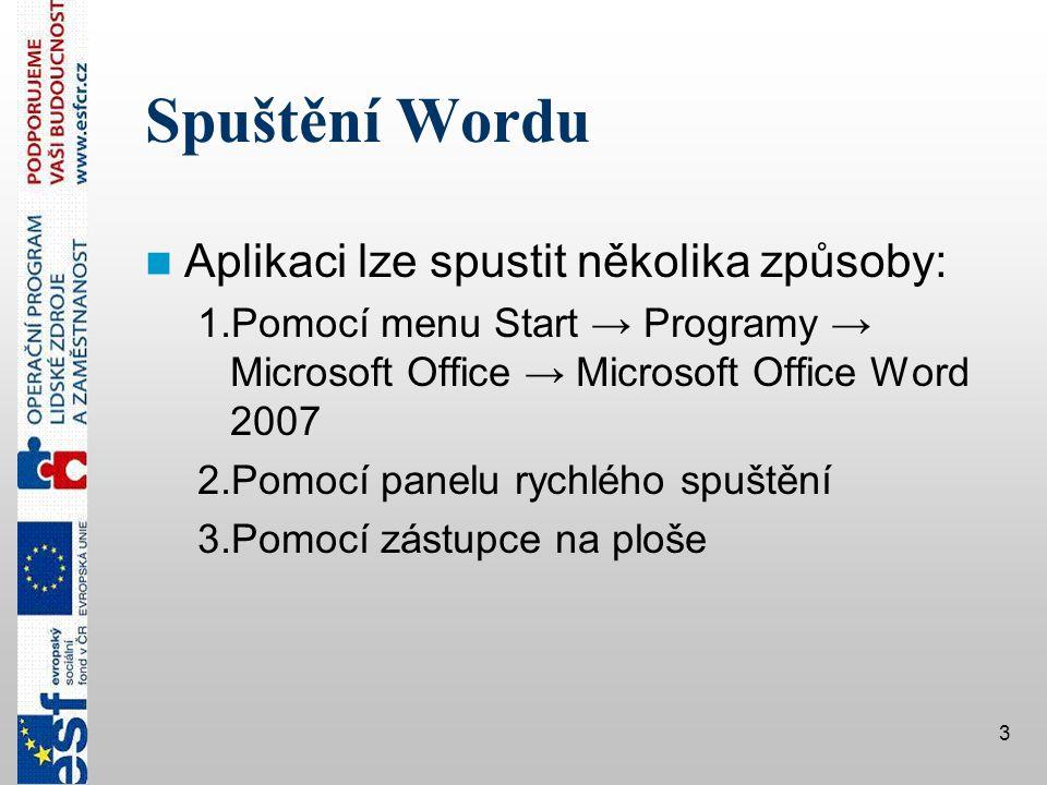 Spuštění Wordu Aplikaci lze spustit několika způsoby: