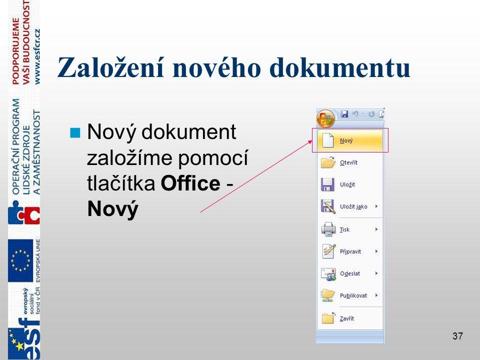 Založení nového dokumentu