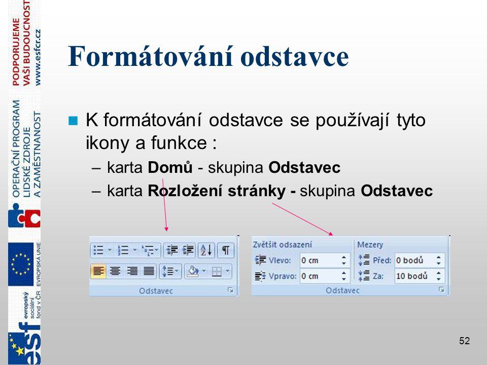 Formátování odstavce K formátování odstavce se používají tyto ikony a funkce : karta Domů - skupina Odstavec.