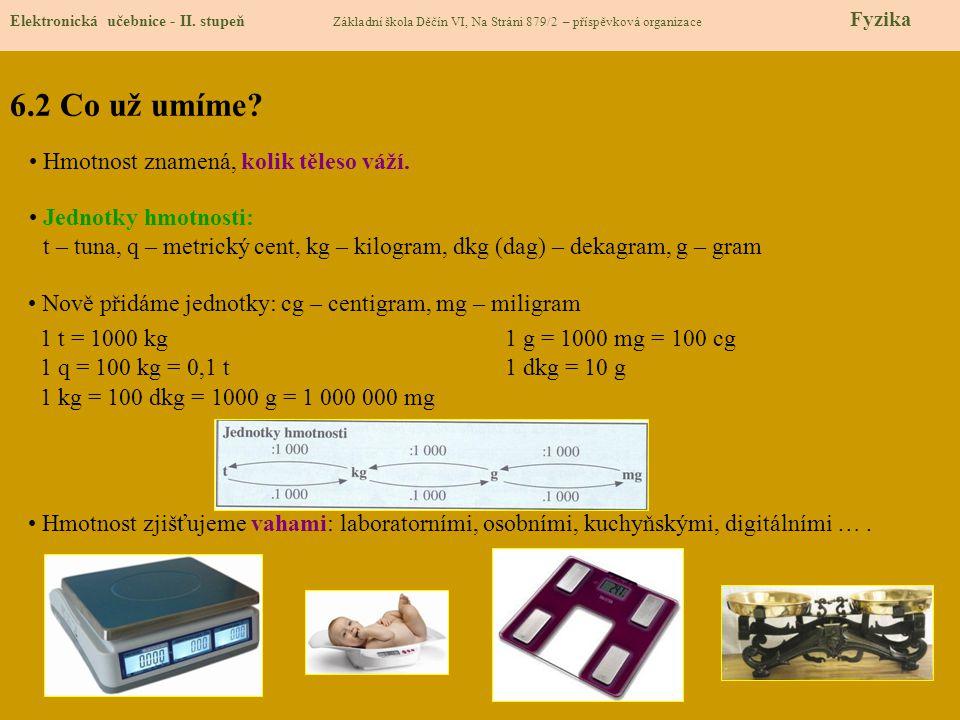6.2 Co už umíme Hmotnost znamená, kolik těleso váží.