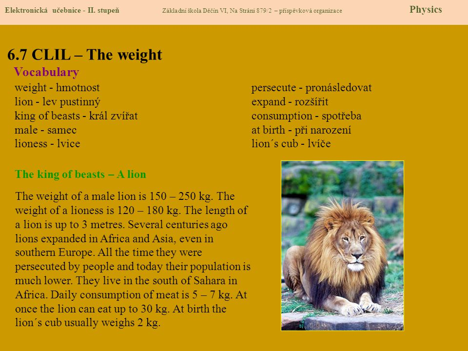 6.7 CLIL – The weight Vocabulary