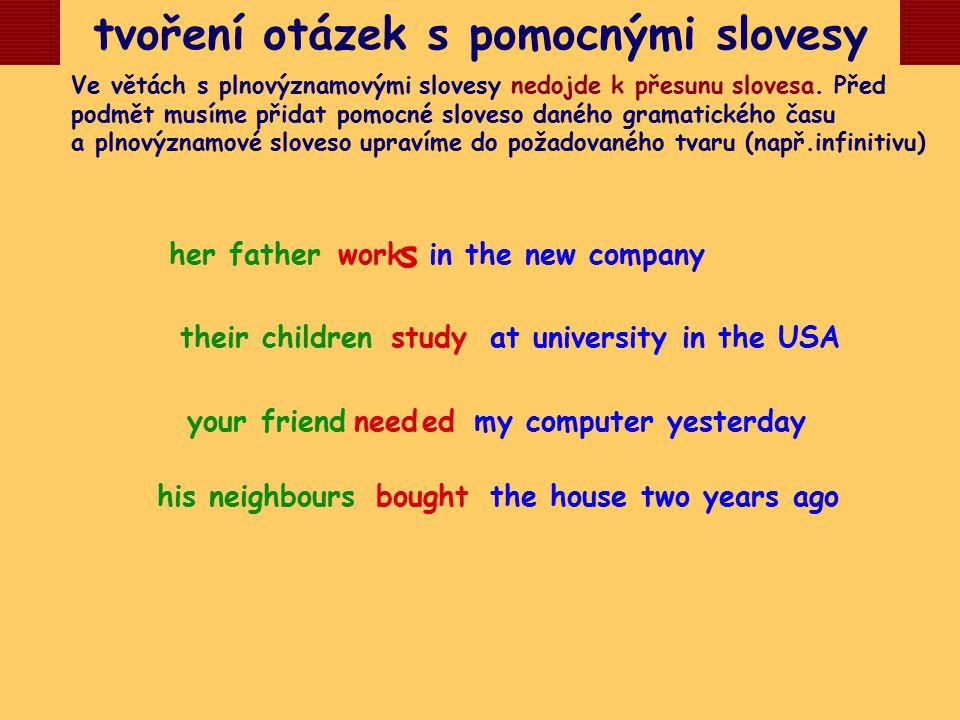 tvoření otázek s pomocnými slovesy