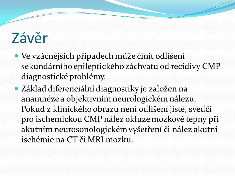 Závěr Ve vzácnějších případech může činit odlišení sekundárního epileptického záchvatu od recidivy CMP diagnostické problémy.