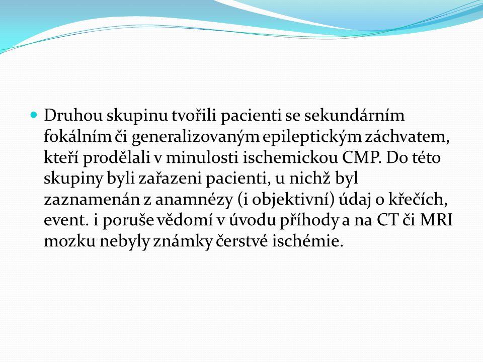 Druhou skupinu tvořili pacienti se sekundárním fokálním či generalizovaným epileptickým záchvatem, kteří prodělali v minulosti ischemickou CMP.