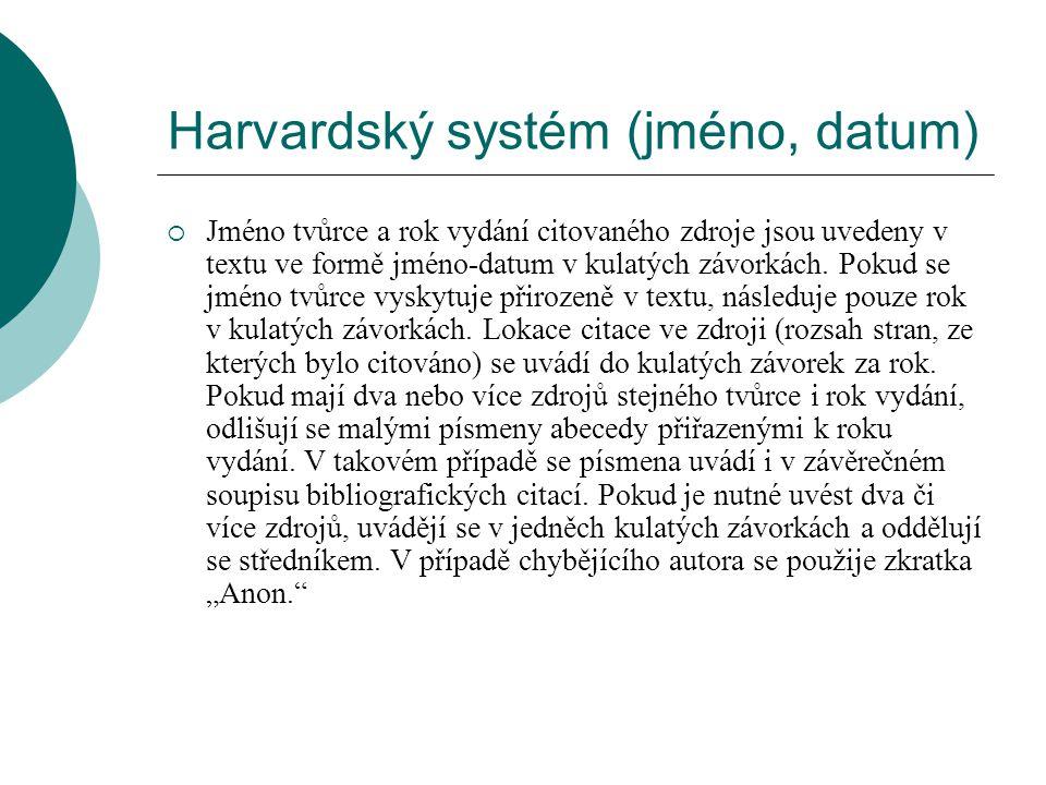 Harvardský systém (jméno, datum)