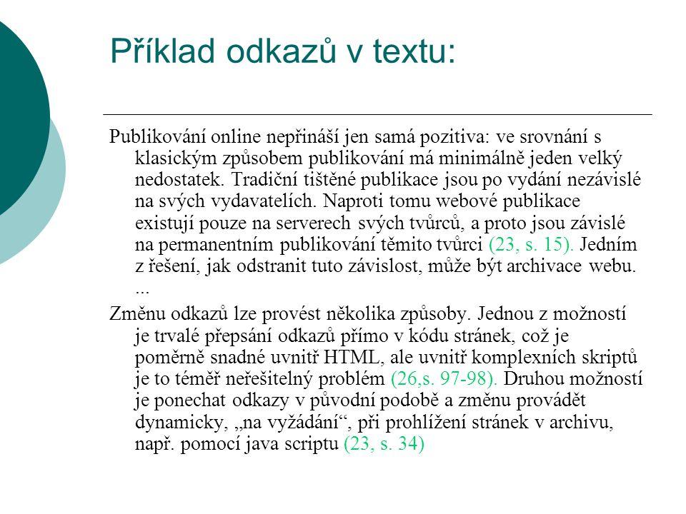 Příklad odkazů v textu: