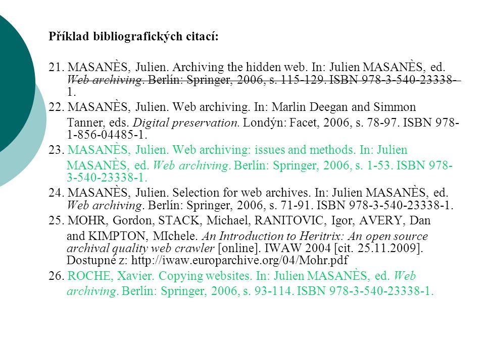Příklad bibliografických citací: